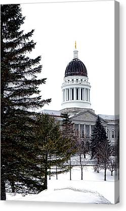 Pine Tree State Capitol In Winter Canvas Print by Olivier Le Queinec