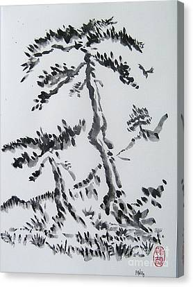 Pine Trees On Tokaido Road Canvas Print by Roberto Prusso