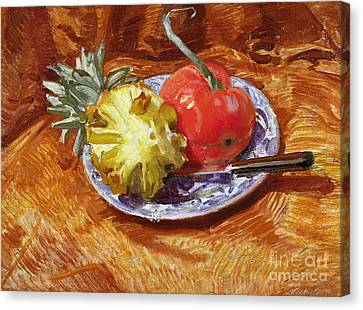 Pineapple And Tomato Canvas Print
