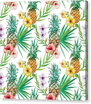 Pineapple And Tropical Flowers Canvas Print by Vitor Costa