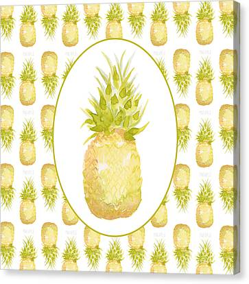 Canvas Print featuring the painting Pineapple Cameo by Cindy Garber Iverson