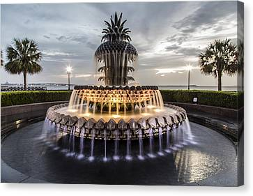 Pineapple Canvas Print - Pineapple Fountain Charleston Sc by John McGraw