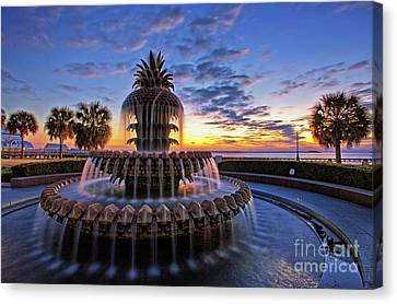 The Pineapple Fountain At Sunrise In Charleston, South Carolina, Usa Canvas Print by Sam Antonio Photography