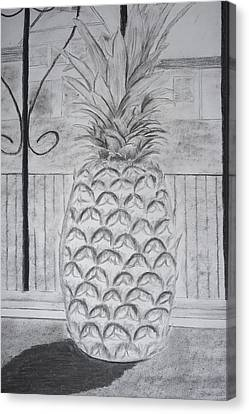 Pineapple In Window Canvas Print by M Valeriano