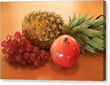Pineapple Pomegranate Grapes Canvas Print by Donna Kennedy