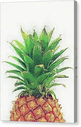 Canvas Print featuring the digital art Pineapple by Taylan Apukovska