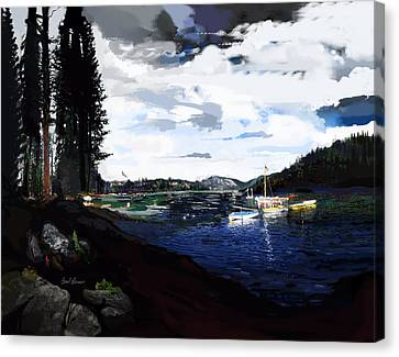 Pinecrest And Boats Canvas Print