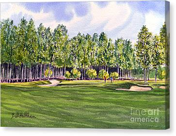 Canvas Print featuring the painting Pinehurst Golf Course 17th Hole by Bill Holkham