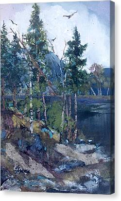 Canvas Print featuring the painting Pinelake  by Helen Harris