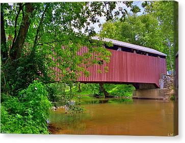 Pinetown Bushong's Mill Covered Bridge Canvas Print by Lisa Wooten