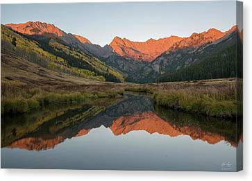 Canvas Print featuring the photograph Piney River Autumn Sunrise by Aaron Spong