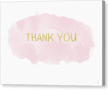 Thank Canvas Print - Pink And Gold Watercolor Wash Thank You- Art By Linda Woods by Linda Woods