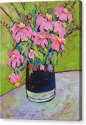 Coneflower Canvas Print - Pink And Green by Blenda Studio