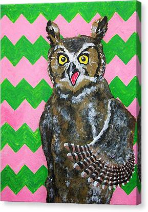 Pink And Green Chevron Owl Canvas Print by Mike Kraus