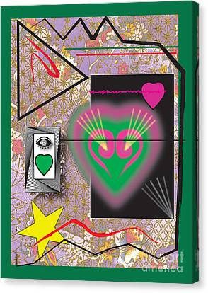 Canvas Print featuring the digital art Pink And Green Heart Design by Christine Perry