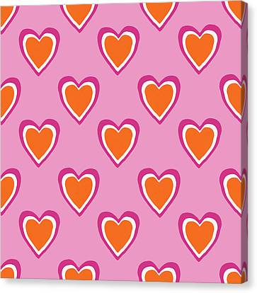 Pink And Orange Hearts- Art By Linda Woods Canvas Print by Linda Woods