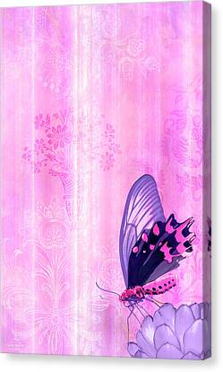 Patchwork Quilts Canvas Print - Pink And Purple Butterfly Companions 2 by JQ Licensing