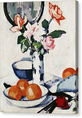 Pink And Tangerine Roses In A Blue And White Beaker Vase With Oranges In A Bowl And A Black Fan Canvas Print by Samuel John Peploe