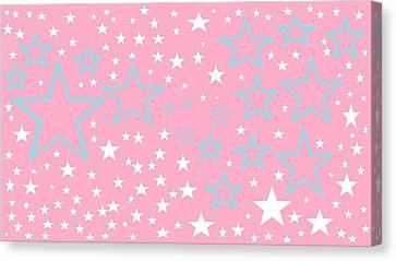 Pink And Turquoise Stars 1 Canvas Print