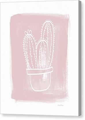 Pink And White Cactus- Art By Linda Woods Canvas Print by Linda Woods