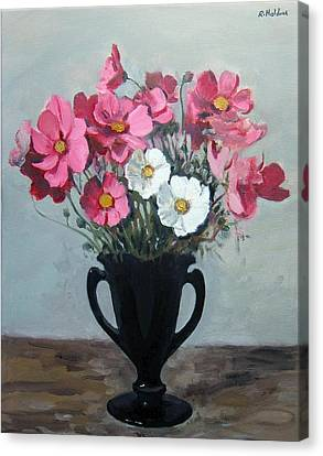 Pink And White Cosmos In Black Glass Vase Canvas Print