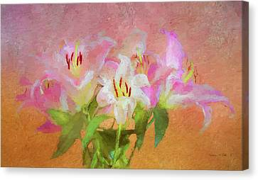 Canvas Print featuring the photograph Pink And White Lilies by Bellesouth Studio