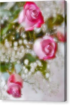 Canvas Print featuring the photograph Pink And White Rose Bouquet by Diane Alexander