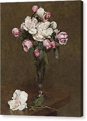 Pink And White Roses In A Champagne Flute Canvas Print by Ignace Henri Jean Fantin-Latour