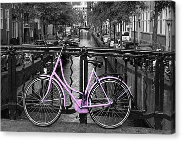 Pink Bicycle By The Canal Canvas Print by Aidan Moran