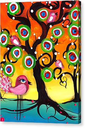 Pink Birds On A Tree Canvas Print by  Abril Andrade Griffith