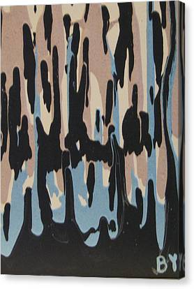 Pink Blue And Brown Drips Canvas Print