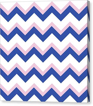 Rose Patterned Curtains Canvas Print - Pink Blue Chevron Pattern by Christina Rollo