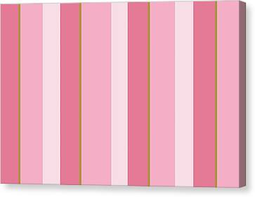 Canvas Print featuring the mixed media Pink Blush Stripe Pattern by Christina Rollo