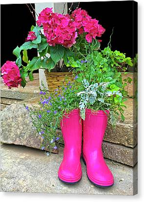 Pink Boots Canvas Print by Susan Leggett