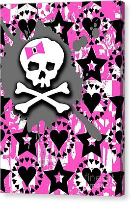Pink Bow Skull Canvas Print