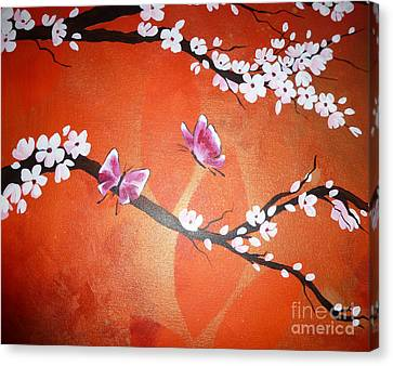 Pink Butterflies And Cherry Blossom Canvas Print