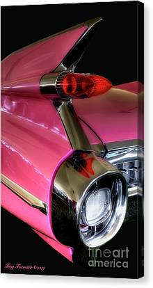 Canvas Print featuring the photograph Pink Cadillac Blackout by Trey Foerster