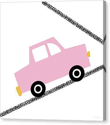 Juvenile Art Canvas Print - Pink Car On Road- Art By Linda Woods by Linda Woods