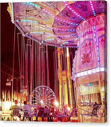 Pink Carnival Festival Ferris Wheel Night Ride - Carnival Rides - Night Light Carnival Art Canvas Print by Kathy Fornal