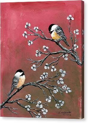 Pink Chickadees Canvas Print