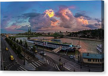 Pink Clouds Above The Danube, Budapest Canvas Print