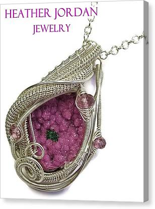 Pink Cobaltoan Calcite Druzy And Sterling Silver Wire-wrapped Pendant With Pink Rubellite Tourmaline Canvas Print by Heather Jordan