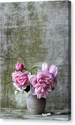Pink Color Roses Flowers Canvas Print by S Art