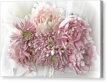 Pink Cottage Chic Romantic Carnations Peonies Bouquet - Romantic Pink Peonies Cottage Floral Decor Canvas Print by Kathy Fornal