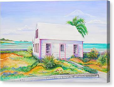 Canvas Print featuring the painting Pink Cottage by Patricia Piffath