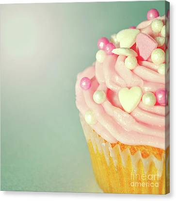 Canvas Print featuring the photograph Pink Cupcake With Lovehearts by Lyn Randle