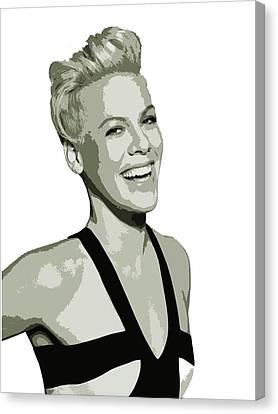 Canvas Print featuring the digital art Pink Cutout Art by David Dehner