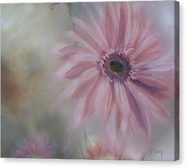 Canvas Print featuring the painting Pink Daisies by Donna Tuten