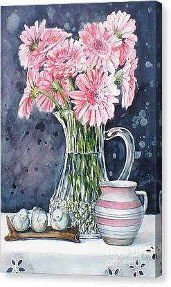 Pink Daisies In Crystal Pitcher Canvas Print