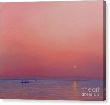 Pink Dawn On The Ganges Canvas Print by Derek Hare